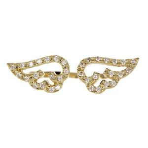 Wing Crystal CZ Midi Ring